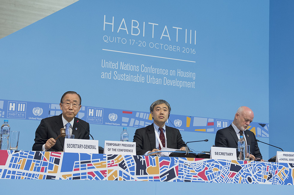 Secretary-General Ban Ki-moon presides over the opening of the United Nations Conference on Housing and Sustainable Urban Development